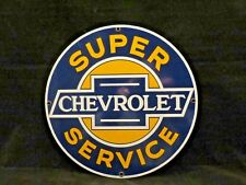 1986 Ande Rooney Chevrolet Super Service Porcelain Sign Chevy Lubester Gas Pump