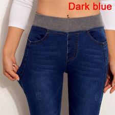 Plus Size Women's Jeans Elastic Waist Stretch Jeans Denim Pencil Pants Trousers!
