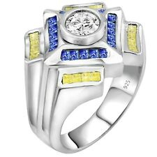Men's Real Sterling Silver .925 1.75 Carat Yellow & Blue CZ Ring w/Gift Box