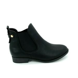 Top Moda Womens Slip On Ankle Bootie Elastic Side Gussets Black Faux Leather 8