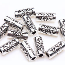 30Pc Tibetan Silver Flower Carving Tube Charm Spacer Beads Jewelry Finding 8x3mm