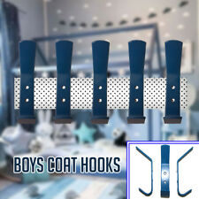 New Boys Blue Coat Hooks Door Wall Hooks Baby Nursery or Kids Bedroom