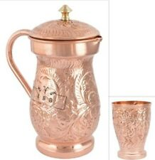 2 Ltr Copper Mughal Jug & 1 Pcs 300 ML Glass Pitcher New Indian Ayurveda Product