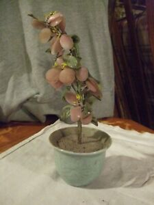 "Vintage Japanese Jade Glass Flowering Blossom Bonsai Tree ornament 9.5"" tall"