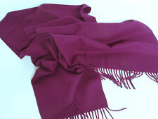 Large CRISCA West Germany Soft WOOL SCARF Deep Eggplant Aubergine Purple
