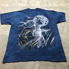 THE MOUNTAIN 2002 VTG Howling LONE WOLF Snow XL Moon TIE DYE Made USA T Shirt