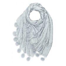 Leopard Pashmina With Real Fur Pompoms SILVER