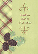 PAPYRUS CHRISTMAS CARD NIP MSRP $6.95 BROTHER PINE CONE CARD (G3)