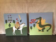 Amazing knight/dragon canvas pictures for kids room (9x9)