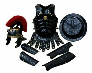 Medieval Armor Roman Helmet Muscle Jacket & Arm Guard Leg With Red Plume
