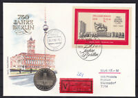 DDR Numisbrief Wertbrief 5 DM Coin Let 1987 Rotes Rathaus VEB Leipzig gelaufen