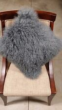 "Handmade Mongolian Fur 16""x16"" Square Gray Pillow Cushion & suede fabric back US"