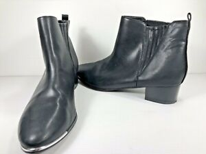 DECJUBA Women's Mid Heel Black Boot Size 41 Silver Trim Detail Elastic Sided