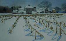 Original Watercolor of a Winter Cornfield by Pennsylvania Artist David Larson