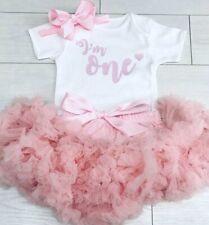Luxury Girls 1st First Birthday Tutu Skirt Outfit Baby Pink Cake Smash Set One