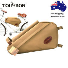 Tourbon Bike Pannier Bicycle Tube Frame Pack Triangle Bag Backpack Cycling Brown