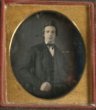 DAGUERREOTYPE MAN WITH PILED HIGH HAIR.TINTED, 6TH PLATE, FULL CASE.