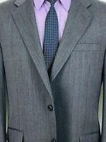 42R Hickey Freeman Mens 2 Button Wool Blazer Jacket Slate Gray Herringbone Mint!