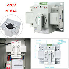 2P 63A Dual Power Automatic Transfer 220V Toggle Switch 150×138×115mm MCB Type