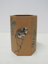 Fine Chinese Yixing Zisha Pottery Hexagonal Brush Pot or Wall Vase with mark