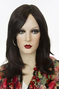 Dark Brown Brunette Medium Monofilament Straight Wigs