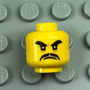 LEGO Male Minifig Head Thick Black Eyebrows and Moustache Angry Expression x1