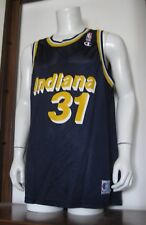 48 Men Champion Reggie Miller Indiana Pacers NBA Basketball Jersey Blue VTG EUC