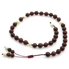 Pterocarpus Santalinu Wood Tibet Buddhist Prayer Beads Mala Bracelet White Gem