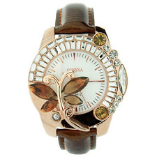 Butterfly Adorned Watch with Rhinestones & Snake Skin Strap - Brown