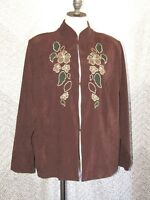 Breckenridge Woman Brown Fall Flower & Leaf Long Sleeve Dress Shirt Jacket Sz 1X