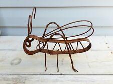 Rusty Metal Grasshopper Cricket Yard Garden Ornament - Unique Folk Art Item