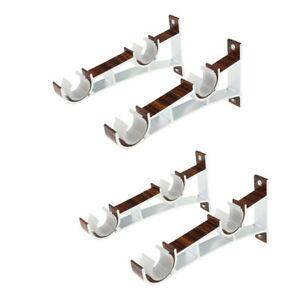 4 Pieces Double Curtain Rod Bracket Pole Rack Stand for Bedroom Decoration