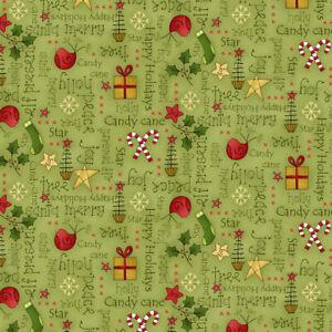 Henry Glass Christmas Elves Fabric Green 100% Cotton per 1/2m
