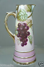Antique Hand Painted Grapes/Leaves Pink Porcelain Pitcher,Gold Rims