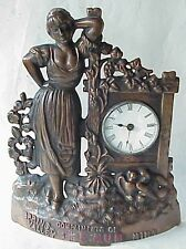 Antique 1885 Lovely Lady Bronzed Mantel Advertising Clock Spring Valley MN