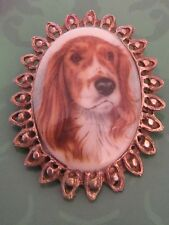 Vintage 1970's Brooch - Oval Shaped Featuring Portrait English Setter Dog