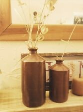 More details for extra large 25cm & 20cm pair of early brown stoneware ink bottles bourne denby