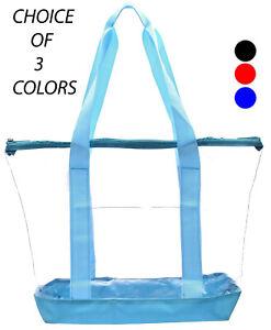 Clear Tote Bag PVC Transparent Purse Handbag Zipper Security Event Stadium LARGE