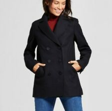 A New Day woman wool pea coat lined Black or Gray- jackets size S-2XL Plus size