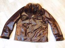 Vintage Russian Soviet jacket leather bomber pilot. Natural fur. 1990г Sherpa
