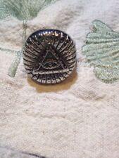 Nemesis Large Stainless Steel Illuminati Eye Crest Size 12 Men's Ring