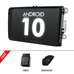 """OBD+DVR+Head Unit 9""""Android 10 Car Stereo Radio GPS DSP For VW Skoda Seat RCD330"""