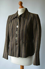 Ladies Black & Beige Viyella Jacket Size Uk 12