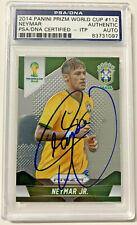 Brazil Neymar Authentic Signed Card 2014 Panini Prizm World Cup #112 PSA Slabbed