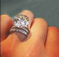 Certified 4.5Ct Round Cut White Diamond 14K Solid White Gold Engagement Ring Set