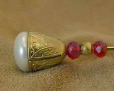 """Regal Gold With Pearl 7"""" Vintage Style Hat Pin"""