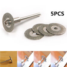 5PCS 22mm Emery Diamond Coated cutting blades Discs +1 Mandrel Drill Bit Tool
