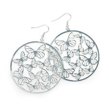 Silver Colour Round Butterfly Design Drop Earring Ladies Fashion Jewellery