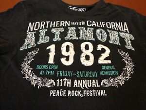 Altamont Peace Rock Festival California Urban Up Pipeline T Shirt   Small