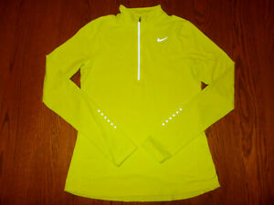 NIKE DRI-FIT 1/2 ZIP LONG SLEEVE YELLOW REFLECTIVE RUNNING TOP WOMENS SMALL EXC.